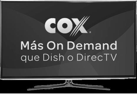 TV en blanco y negro con el logo de Cox que muestra Más On Demand queDishoDirecTVen la pantalla para Cox vs. la competencia