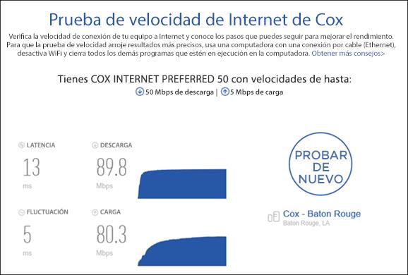 Ver los resultados de la prueba de velocidad de Internet